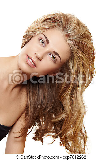 blond woman with long hair - csp7612262