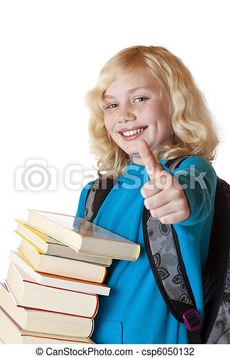 Blond, young and beautiful girl with books holds thumb up. - csp6050132