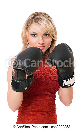 Blond young girl in  boxing gloves - csp9202353