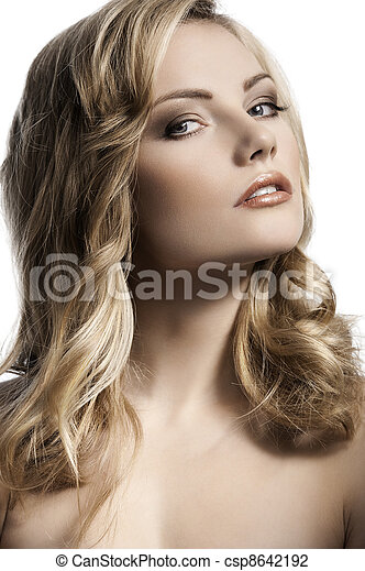 blond young girl with stylish curled hair - csp8642192