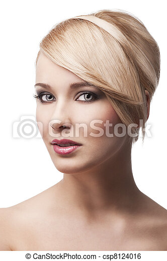 blond young girl with stylish, she smiles - csp8124016