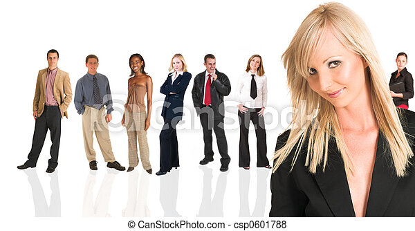 Blonde businesswoman standing in front of a business people grou - csp0601788
