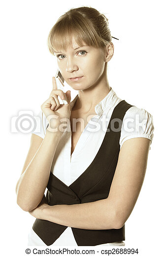 Blonde businesswoman with mobile - csp2688994