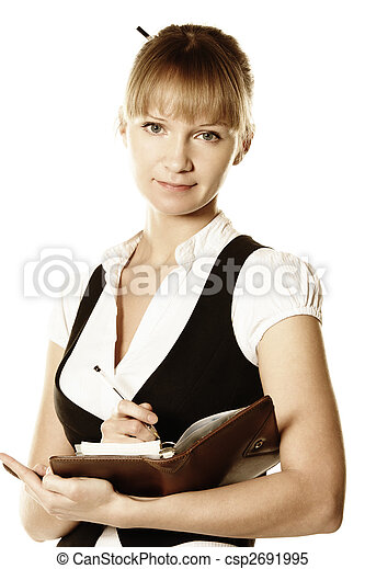 Blonde businesswoman with open notepad - csp2691995