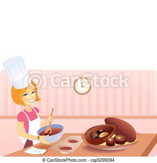 Blonde girl making Easter Eggs - csp5299394