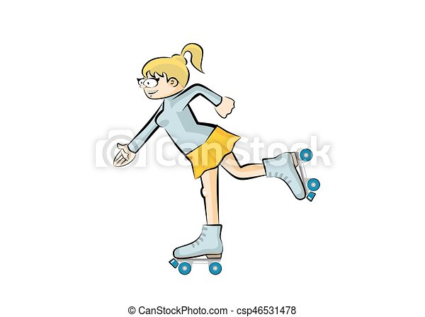 Blonde girl on roller skates - isolated - csp46531478