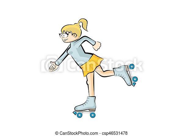Blonde girl on roller skates - isolated - csp46531478