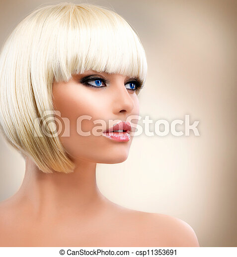 Blonde Girl Portrait. Blond Hair. Hairstyle. Stylish Make-up  - csp11353691