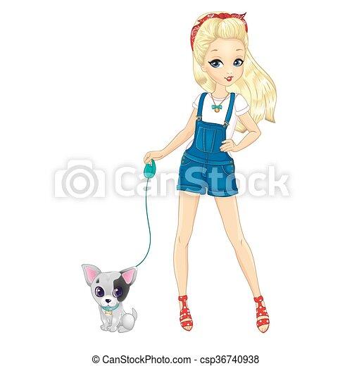 Blonde Girl Walking With Dog - csp36740938