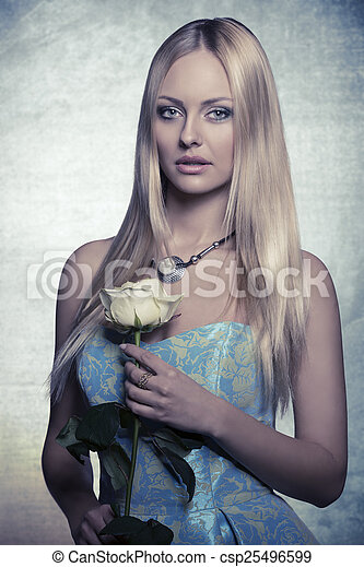 blonde girl with rose  - csp25496599