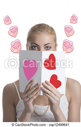 blonde girl with valentine postcard forward the face - csp12499641