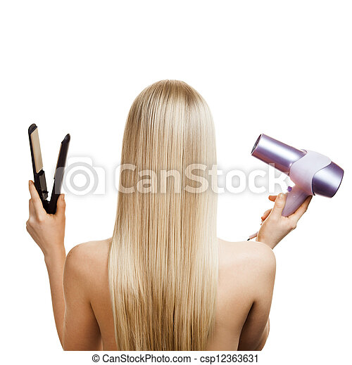 Blonde hair and hairdresser's tools - csp12363631