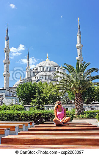 Blonde in Istanbul at the Blue Mosque - csp2268097