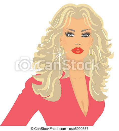 blonde in pink - csp5990357