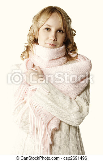 Blonde in pink scarf - csp2691496