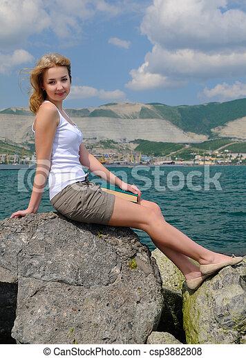 blonde in the beach - csp3882808
