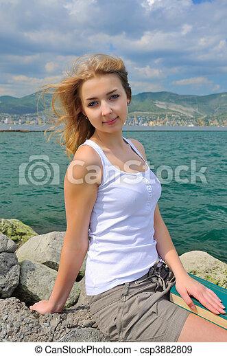 blonde in the beach - csp3882809