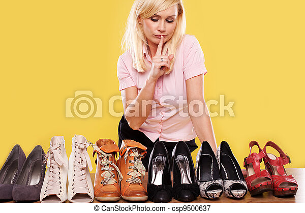 buy online f22f2 e3c99 Blonde lady with a passion for shoes
