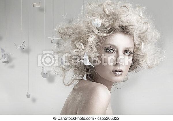 blonde , origam, aantrekkelijk, beauty - csp5265322