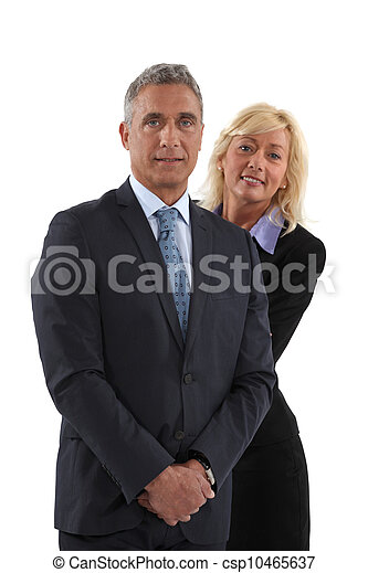 Blonde woman behind  man in a suit - csp10465637