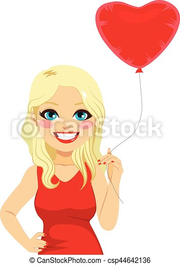 Blonde Woman Heart Balloon - csp44642136