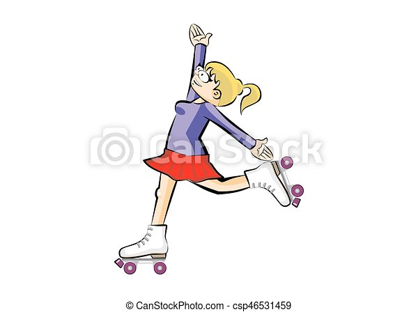 Blonde Woman on roller skates - isolated - csp46531459