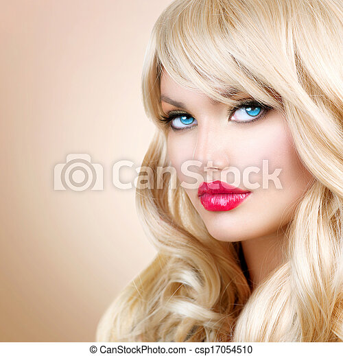 Blonde Woman Portrait. Beautiful Blond Girl with Long Wavy Hair  - csp17054510