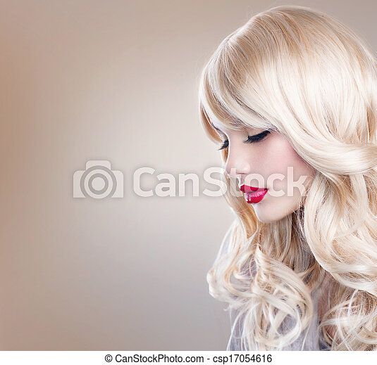 Blonde Woman Portrait. Beautiful Blond Girl with Long Wavy Hair - csp17054616