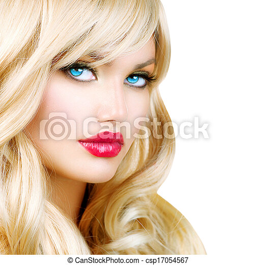 Blonde Woman Portrait. Beautiful Blond Girl with Long Wavy Hair - csp17054567