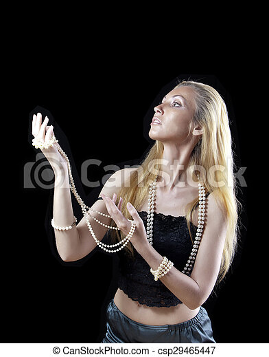 blonde woman with long hair,  - csp29465447