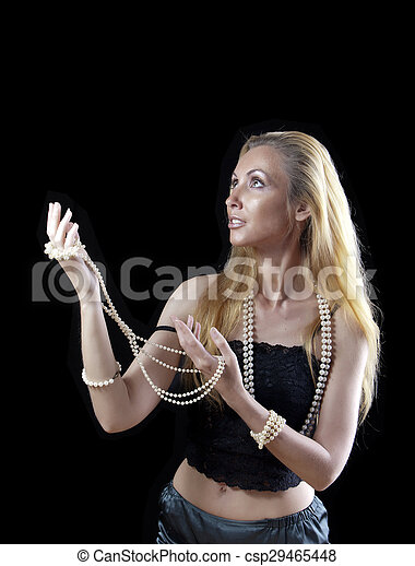 blonde woman with long hair,  - csp29465448