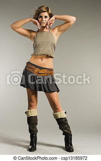 Blonde mini skirt boots