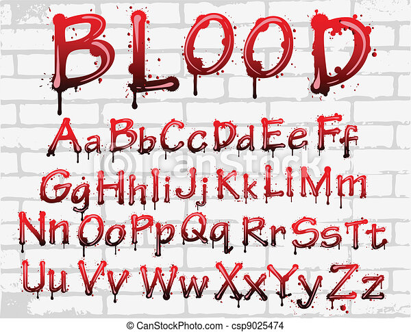 blood alphabet on the wall - csp9025474