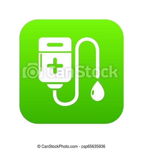 Blood bag icon green - csp65635936