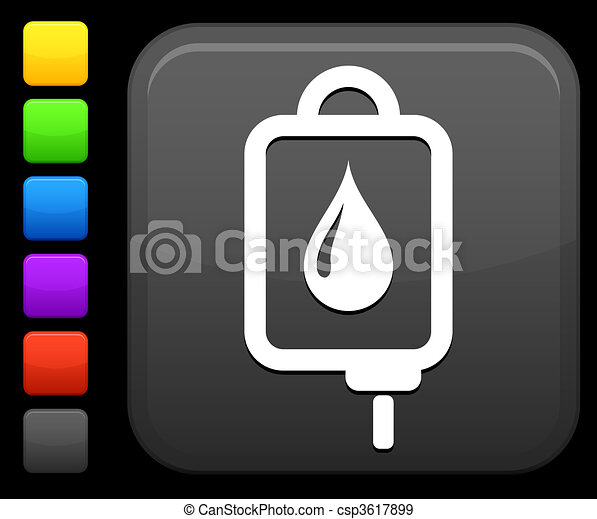 blood bag icon on square internet button - csp3617899