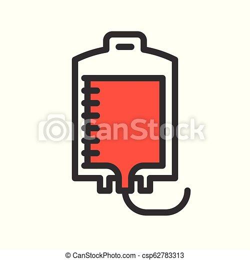 blood bag, simple filled outline icon medical set - csp62783313