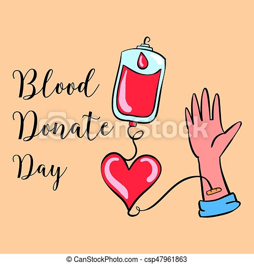 Blood Donate Day Hand Draw Collection Vector Illustration