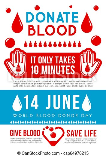 Blood Donation Medical Poster With Heart And Drop World Blood Donor Day Medical Banner For Transfusion Laboratory Or Clinic