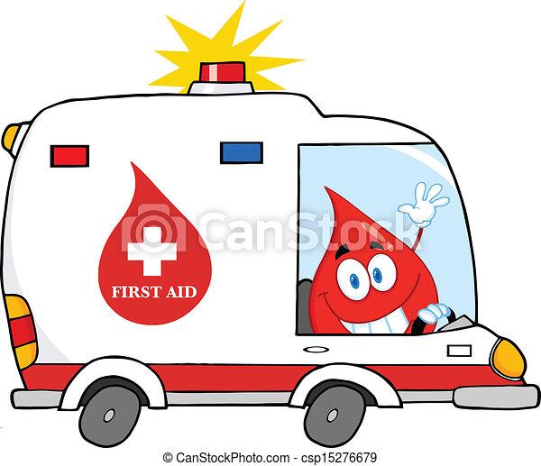 Blood Drop Driving Ambulance Car - csp15276679