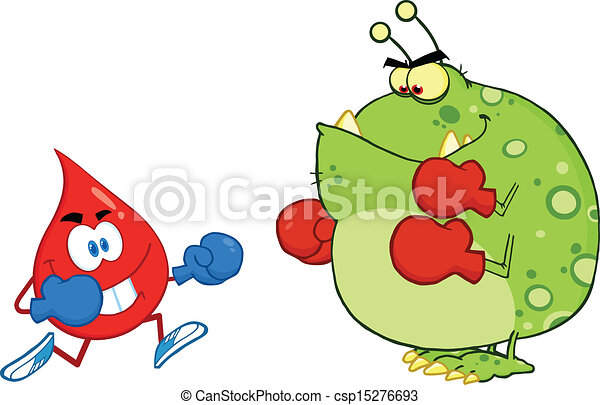 Blood Drop Fighting With Virus - csp15276693