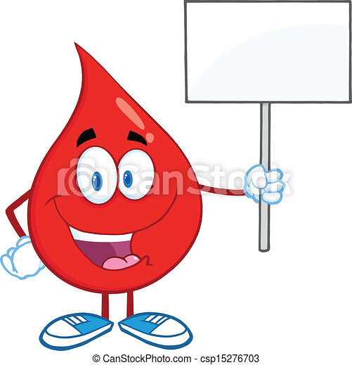 Blood Drop Holding A Blank Sign - csp15276703