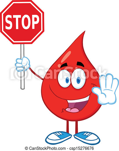 Blood Drop Holding A Stop Sign - csp15276676