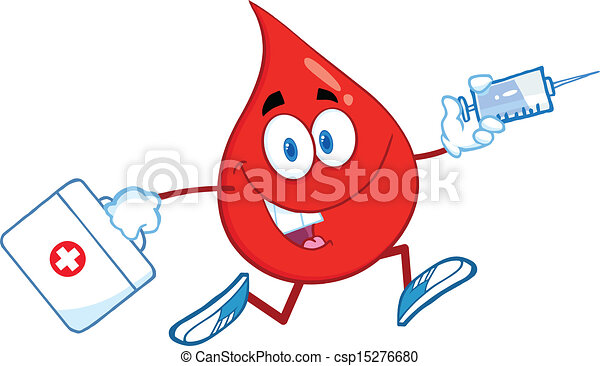 Blood Drop Running With A Syringe  - csp15276680