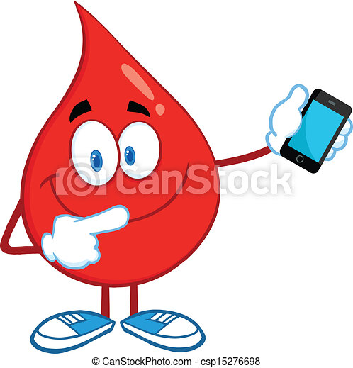Blood Drop With Mobile Phone - csp15276698