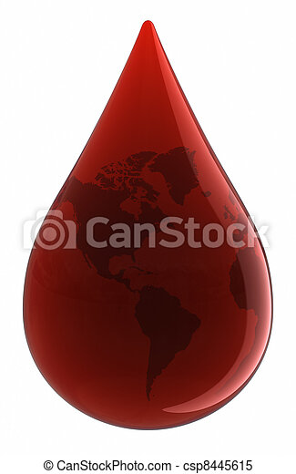 Blood Drop with World Map - csp8445615