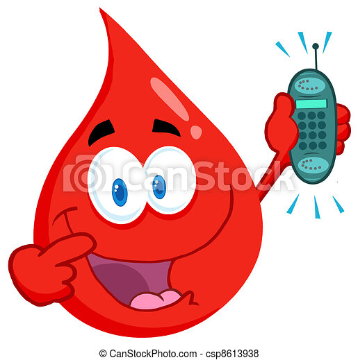 Blood Guy Holding A Cell Phone - csp8613938