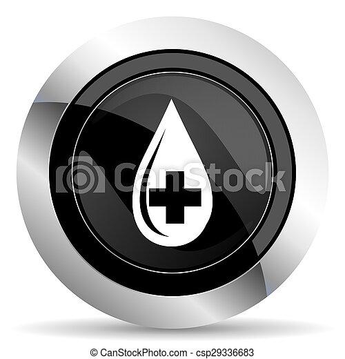 blood icon, black chrome button - csp29336683