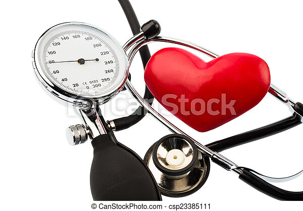blood pressure monitor and heart - csp23385111