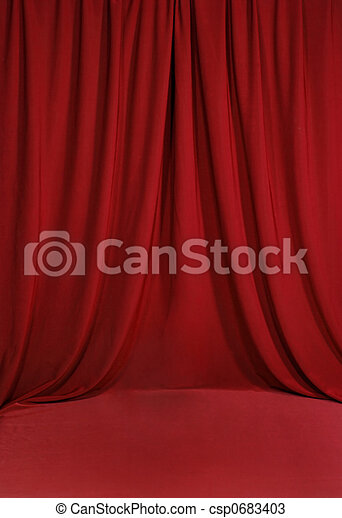 Blood Red Draped Backdrop Background - csp0683403