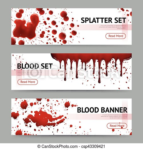 Blood Splatters Horizontal Banners Set - csp43309421